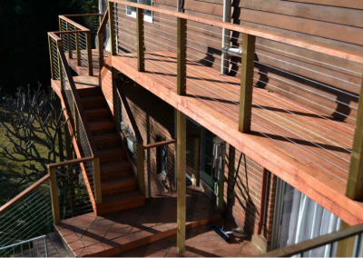 Deck and stairs with stainless steel handrail (Mount Colah)