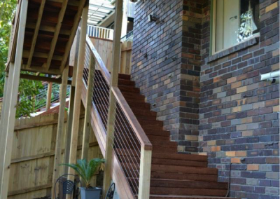 Merbau deck and stairs with stainless steel wire balustrade (Hornsby Heights)