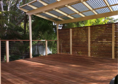 Merbau deck, awning and privacy screen (Mt Kuring-gai)